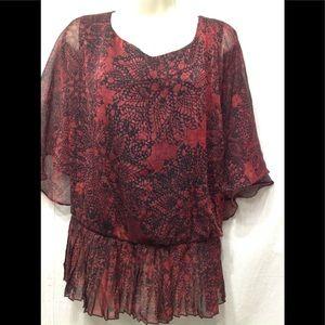 Women's size 24 DRESSBARN sheer overlay blouse